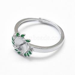 Composants de bague réglables en 925 argent sterling, pour la moitié de perles percées, avec la zircone cubique et émail, fleur, platine, 18mm; tary: 7mm; broche: 0.8mm(STER-F045-13P)