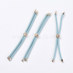 Nylon Twisted Cord Bracelet Making, Slider Bracelet Making, with Brass Findings, Cadmium Free & Lead Free, Long-Lasting Plated, Tree of Life, Sky Blue, Real 18K Gold Plated, 210~220x2mm, Hole: 2mm(X-MAK-F018-09G-RS)