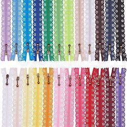 Accessoires de vêtement, fermeture à glissière en nylon, composants de fermeture à glissière, couleur mixte, 44x2.4cm; 2 bandes / couleur, 48strands / set(FIND-BC0001-11B)