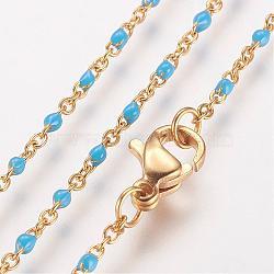 """Colliers avec chaîne en 304 acier inoxydable, avec des liens émaillés, or, bleu foncé, 17.91"""" (45.5cm); 1.5~2mm(NJEW-E083-02G)"""