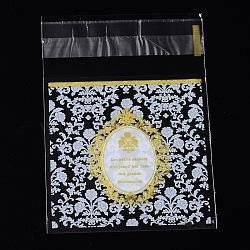 OPP Sacs de cellophane rectangle, avec motif floral, jaune, 9.9x6.9cm; épaisseur bilatérale: 0.07mm; environ 95~100pcs / sac(OPC-L001-05)