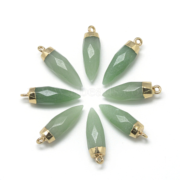 Golden Bullet Green Aventurine Pendants