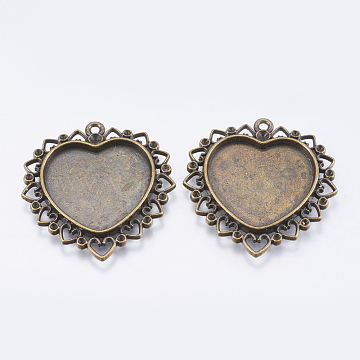 Alloy Rhinestone Pendant Cabochon Settings, Cadmium Free & Lead Free, DIY Findings for Jewelry Making, Mother's Day Jewelry Findings, Heart, Antique Bronze Color, 38x35x3mm, Hole: 2mm, Tray: 22x24mm(X-PALLOY-J014-AB)