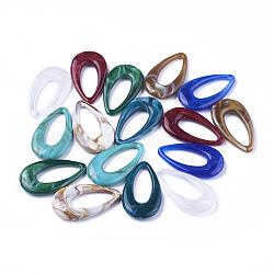 Pendentifs acryliques, style de pierres fines imitation, larme, couleur mixte, 44.5x25.5x6mm, Trou: 1.4mm(X-OACR-T007-04-M)