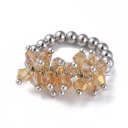 304 bagues élastiques en acier inoxydable, avec perle de verre galvanisée et goupilles en laiton, jaune, taille 8, 18mm(RJEW-JR00261-04)