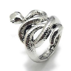 кольца перста сплава, змея, Размер 8, Старинное серебро, 18 mm(X-RJEW-S038-136)