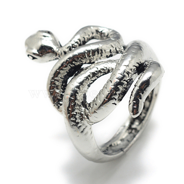 Alloy Finger Rings, Snake, Size 8, Antique Silver, 18mm(X-RJEW-S038-136)
