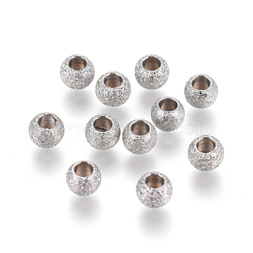 304 Stainless Steel Textured Spacer Beads, Round, Stainless Steel Color, 3x2mm, Hole: 1.5mm(X-STAS-P108-04P-A)
