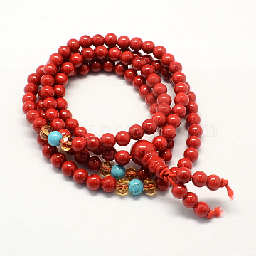 4-Loop Wrap Buddha Meditation Yellow Jade Beaded Bracelets, Buddhist Necklaces, Red, 720x6mm; 108pcs/strand; about 28.3inches(BJEW-R040-6mm-09)