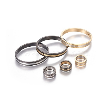 304 Stainless Steel Jewelry Sets, Bangle & Finger Rings, Number & Month, Mixed Color, Size 8, 18mm, 57.5~58x49~49.5mm(SJEW-L177-07)