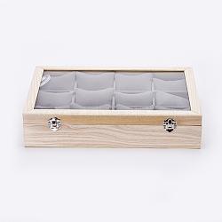 boîtes de présentation de bracelet en bois, avec verre et oreiller de velours, 12 coussins grillagés avec couvercles pour boîtes à bijoux, rectangle, antiquewhite, 35x24x7.5 cm(ODIS-P006-04)