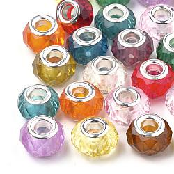 Perles européennes en acrylique, Perles avec un grand trou   , avec des noyaux de laiton de ton argent, facette, rondelle, couleur mixte, 13~14x9~10mm, Trou: 4.5mm(GPDL-S040-M)