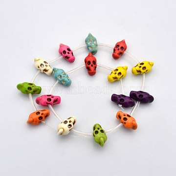 22mm Colorful Skull Synthetic Turquoise Beads