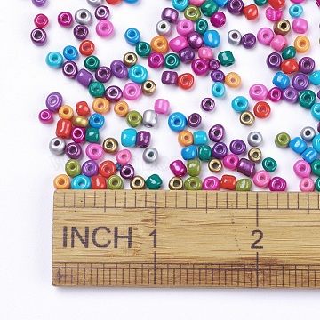 6/0 Baking Paint Glass Seed Beads, Mixed Color, 4~5x3~4mm, Hole: 1~2mm, about 1100pcs/50g(X-SEED-S003-KM)