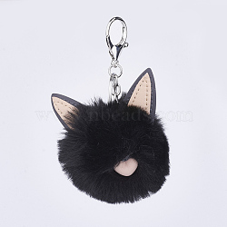 Pom Pom Ball Keychain, with Alloy Lobster Claw Clasps, Iron Key Ring and Chain, Cat Shape, Black, 125mm(KEYC-L014-D29)