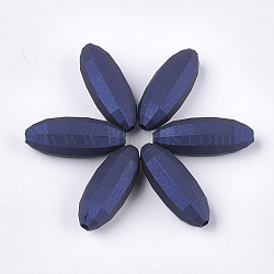 perles acryliques de style caoutchoutées, facettes, ovale, darkblue, 31x12x12 mm, trou: 2.5 mm(MACR-T026-10A)
