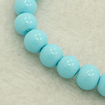 8mm DeepSkyBlue Round Glass Pearl Beads