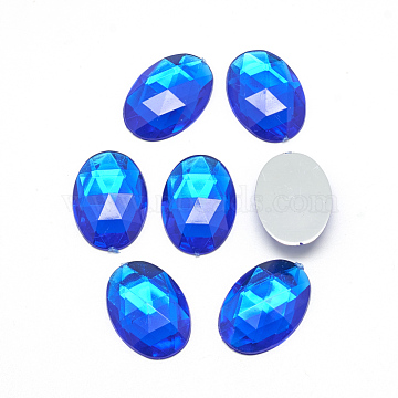 Acrylic Rhinestone Flat Back Cabochons, Faceted, Buttom Silver Plated, Oval, Blue, 18x13x4.5mm(X-GACR-Q011-13x18-05)
