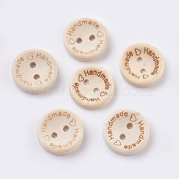 Wooden Buttons, 2-Hole, with Word, Flat Round with Word Handmade, Blanched Almond, 20x3~3.5mm, Hole: 2mm(BUTT-K007-11B)