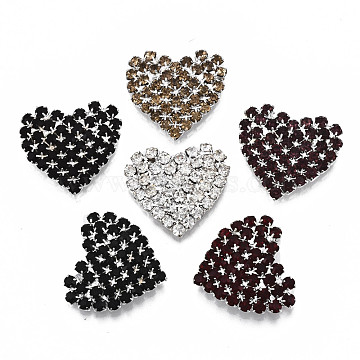 Brass Rhinestone Cabochons, Heart, Silver, Mixed Color, 21x23x4.5mm(RB-S066-23)