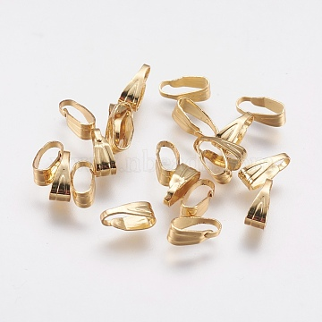 Brass Snap on Bails, Long-Lasting Plated, Real 18K Gold Plated, 7x3x3mm, Hole: 2.5x7mm(X-KK-F739-17G)