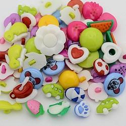 boutons de queue mignons à vendre, boutons décoratifs en vrac en ligne, 1-trou, teints, couleur mélangée, 11~19x10.5~20x2~6 mm, trou: 2~3 mm(BUTT-X0028)