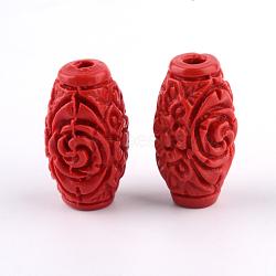 Carved Cinnabar Beads, Barrel, FireBrick, 28x14x14mm, Hole: 2.5mm(CARL-Q004-76A)