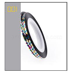 Ligne de bande de striping, nail art autocollant conseils décoration, rouleaux d'autocollants nail art, colorées, 4.3cm; 20m / rouleau(MRMJ-L003-A01)