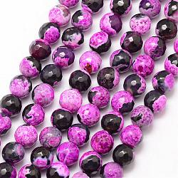 Natural Fire Agate Bead Strands, Round, Grade A, Faceted, Dyed & Heated, Orchid, 6mm, Hole: 1mm; about 61pcs/strand, 15