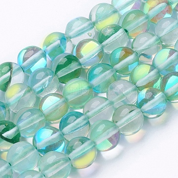 "Chapelets de perles en pierre de lune synthétique, rond, mediumseagreen, 8mm, trou: 0.8 mm; environ 50 pcs brin, 15.1""(G-K280-01-8mm-01)"