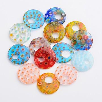 Mixed Color Flat Round Millefiori Lampwork Pendants