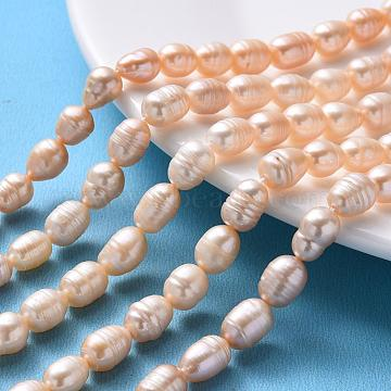 7mm PeachPuff Oval Pearl Beads