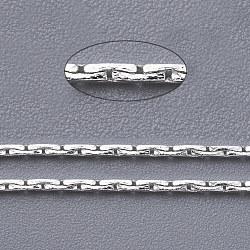 chaînes en laiton coreana, non soudée, avec du papier cartonné, sans cadmium et sans plomb, plaqué argent, 0.9x0.6 mm(X-CHC-002Y-S)