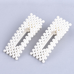 ABS Plastic Imitation Pearl Alligator Hair Clips, Rectangle, White, 71x26mm(OHAR-S198-01)
