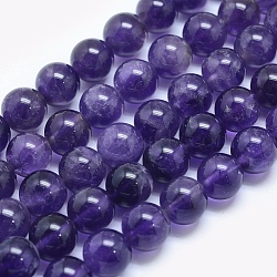 Natural Amethyst Beads Strands, Round, 10mm, Hole: 1mm; about 40pcs/strand, 15.5inches(39.3cm)