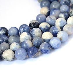 Естественно содалит круглый шарик нити, 6~6.5 мм, Отверстие : 1 мм; около 63 шт / нитка, 15.5 дюйм