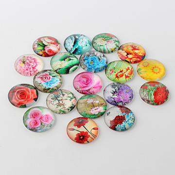 Flower Printed Glass Cabochons, Half Round/Dome, Mixed Color, 10x4mm(X-GGLA-A002-10mm-BB)