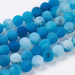 Natural Crackle Agate Beads Strands, Dyed, Round, Grade A, CornflowerBlue, 10mm, Hole: 1mm; about 39pcs/strand, 14.9inches