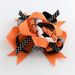 Halloween gros-grain bowknot alligator pinces à cheveux, avec des clips de fer, platine, orange foncé, 120x110mm(PHAR-R165-09)