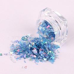 Flocons de coquille de couleur bonbon, manucure nail art décoration, paillettes pour ongles, steelblue, 3x1.5 cm(MRMJ-L001-27L)