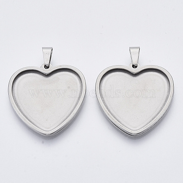 304 Stainless Steel Pendant Cabochon Settings, Plain Edge Bezel Cups, Heart, Stainless Steel Color, Tray: 23.5x25.5mm, 30x29x2.2mm, Hole: 3x6mm(X-STAS-R101-02)