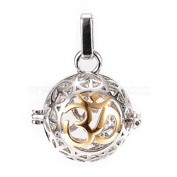Rack Plating Brass Cage Pendants, For Chime Ball Pendant Necklaces Making, Hollow Round with Om Symbol, Platinum & Golden, 26x25x20mm, Hole: 3x7mm, inner measure: 18mm(KK-R036-11)