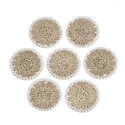 подвеска из полиэстера, горный хрусталь и латунные выводы, плоские круглые с цветком, светлое золото, Перу, 36x2 mm(FIND-T044-10C)