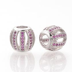 Perles européennes en laiton avec zircone cubique de micro pave, Perles avec un grand trou   , rondelle creuse, platine, magenta, 10x10.5mm, Trou: 4.5mm(ZIRC-T002-65P-02)