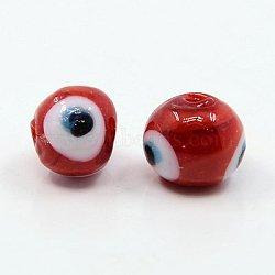 Perles vernissées manuelles, mauvais œil, rond, rouge, environ 10 mm de diamètre, Trou: 1mm(X-DT249J-1)