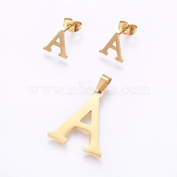 304 Stainless Steel Pendants and Stud Earrings Jewelry Sets, Alphabet, Letter.A, 20~23x13~19x1.5mm, Hole: 6x3mm, 6~10x6~9x1mm, Pin: 0.8mm(X-SJEW-P099-01G)