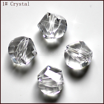 Imitation Austrian Crystal Beads, Grade AAA, Faceted, Polygon, Clear, 6mm, Hole: 0.7~0.9mm(SWAR-F085-6mm-01)