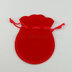 Sac de bijoux de velours, rouge, 90x70mm(X-TP-S003-2)