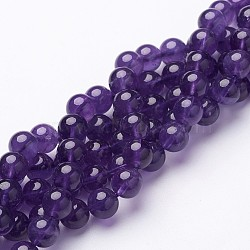 Natural Grade AB+ Amethyst Bead Strands, Round, about 8mm in diameter, hole: 1mm; about 50pcs/strand, 15inches