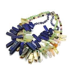 """Colliers de perles avec pierres précieuses naturelles, à ressort fermoirs à anneaux, pierre mixte, 22.8""""(NJEW-P083-M)"""